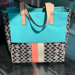 Kate Spade canvas and leather tote!